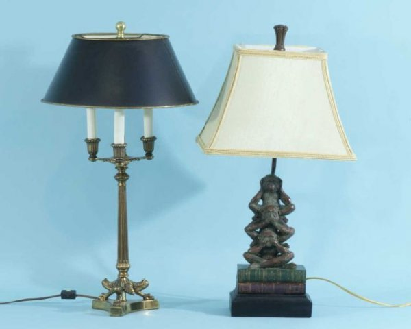 1: BOULLETTE STYLE LAMP AND MONKEY FIGURE LAMP