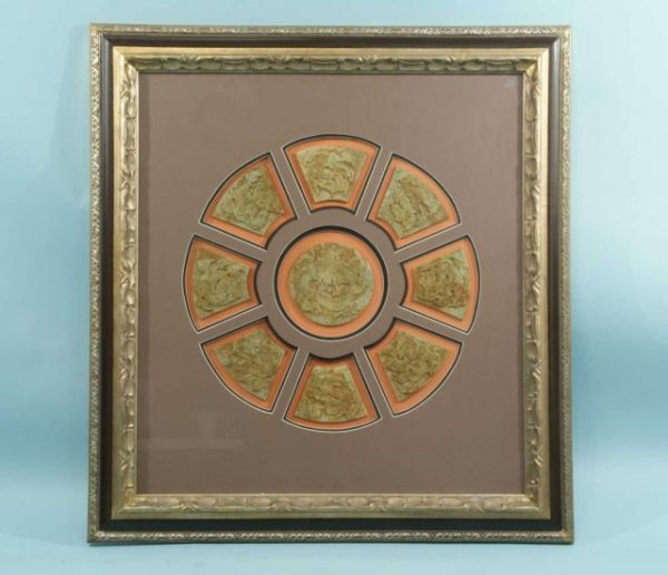 5: FRAMED SHADOW BOX OF MOUNTED CARVED JADE WELCOME P