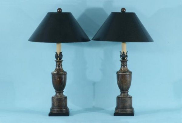 6: PAIR OF CRACKLE FINISH CANDLESTICK LAMPS
