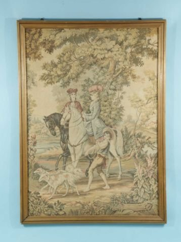 15: VINTAGE FRAMED TAPESTRY OF TWO FRENCH