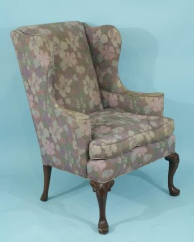 19: QUEEN ANNE STYLE WING CHAIR WITH FLORAL UPHOLSTERY