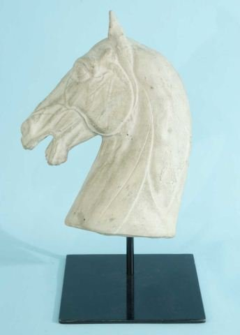 21: PLASTER HORSE HEAD ON IRON STAND