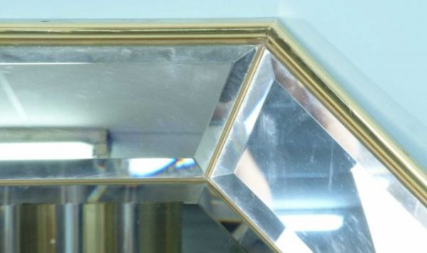 136: BRASS AND CHROME BEVELED MIRROR - 2