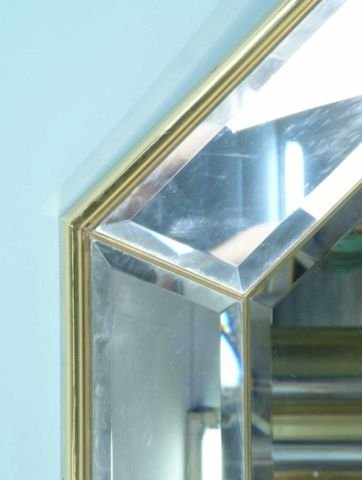 136: BRASS AND CHROME BEVELED MIRROR - 3