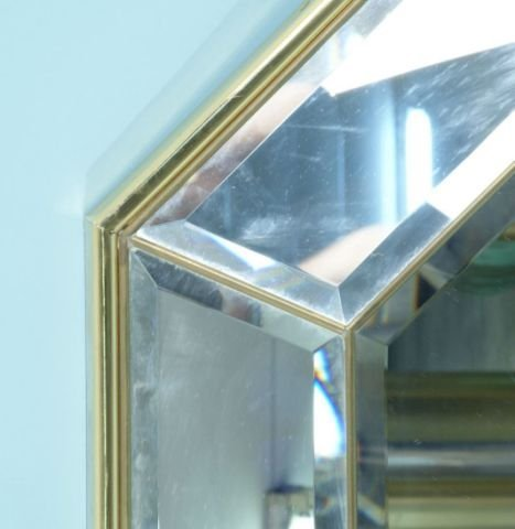 136: BRASS AND CHROME BEVELED MIRROR - 4