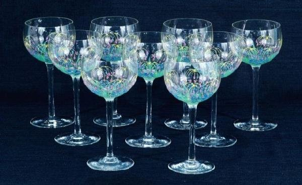 8: SET OF NINE HAND PAINTED GLASS GOBLETS