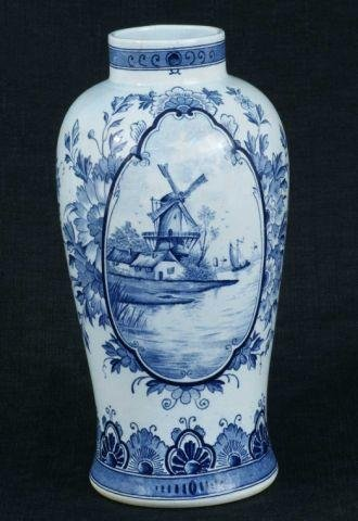 9: ANTIQUE DELFT BLUE & WHITE VASE