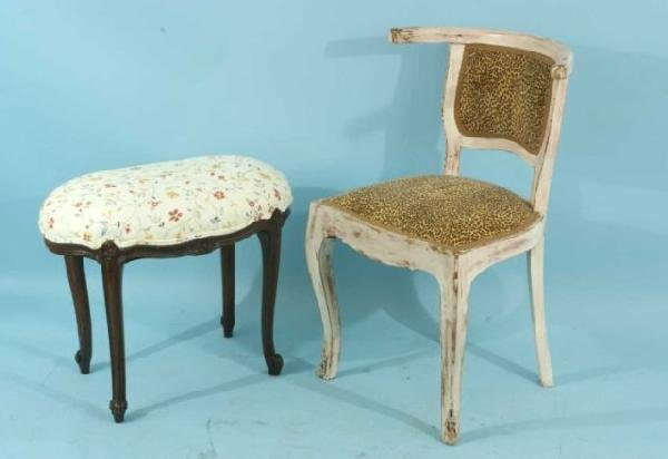 10: ANTIQUE FRENCH PROVINCIAL VANITY BENCH & CHAIR
