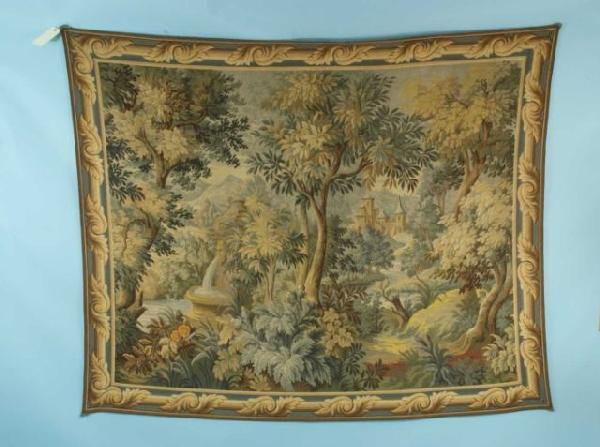 13: FRENCH TAPESTY FEATURING GARDEN/FOREST SCENE