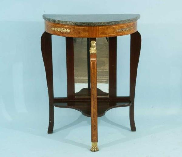 14: EMPIRE STYLE DEMILUNE CONSOLE WITH MARBLE TOP