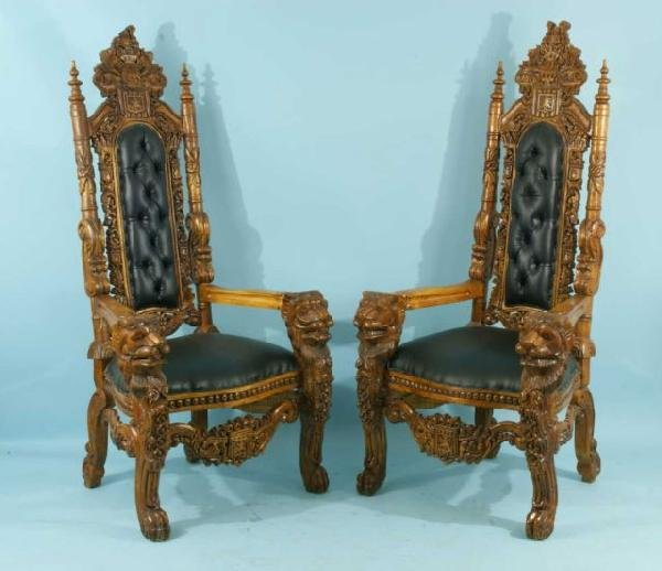 22: PAIR OF WALNUT CARVED THRONE CHAIRS