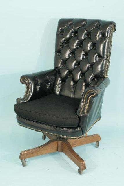 114: BLUE LEATHER OFFICE CHAIR BY LOEBLEIN CREATIONS