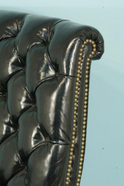 114: BLUE LEATHER OFFICE CHAIR BY LOEBLEIN CREATIONS - 2