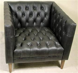 CONTEMPORARY BUTTON TUFTED LEATHER CLUB CHAIR
