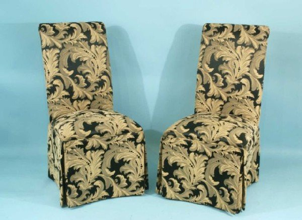 9: PAIR OF SLIP COVERED PARSON CHAIRS