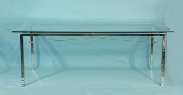 13: CONTEMPORARY CHROME BASE DINING TABLE