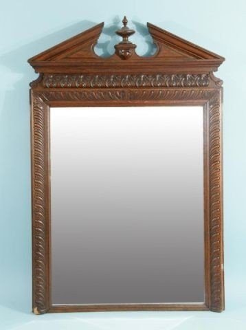 15: ANTIQUE FRENCH MIRROR WITH PEDIMENT TOP