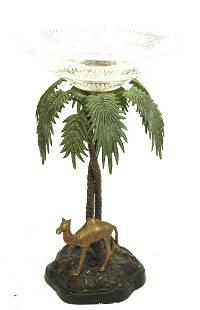 BRONZE MARBLE BASE CAMEL & PALM TREE CENTERPIECE