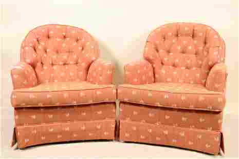PAIR OF BUTTON TUFTED CLUB CHAIRS