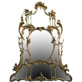 CIRCA 1750-1780 PERIOD CHIPPENDALE GILT CARVED MIRROR