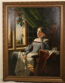 """ARTHUR ROBERTS """"PONDERING LADY"""" OIL PAINTING"""