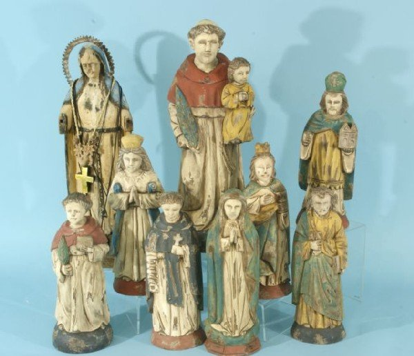8: ASSORTED WOOD CARVED AND POLYCHROME SANTOS
