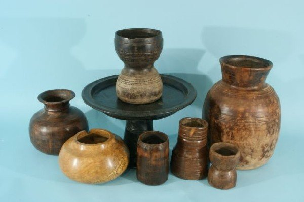 9: EIGHT ASSORTED TRIBAL/INDIAN WOODEN CONTAINERS