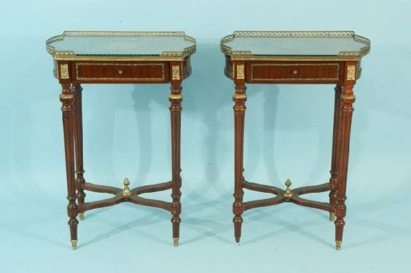 12: PAIR OF BURLED MAHOGANY END TABLES