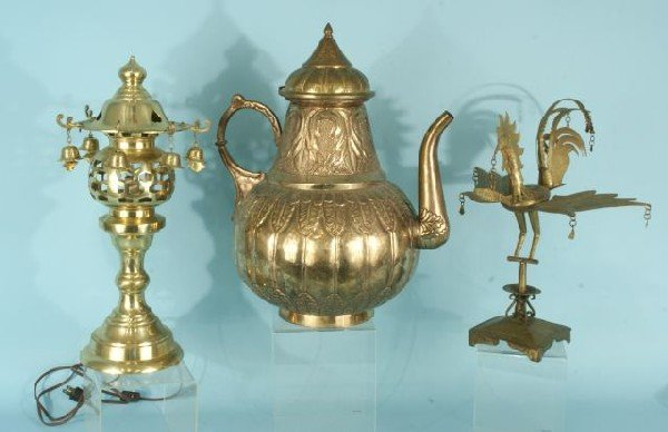 200: CHINESE BRASS LAMP, ROOSTER, LIDDED POT