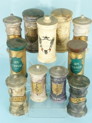 202: SET OF ELEVEN ANTIQUE APOTHECARY JARS