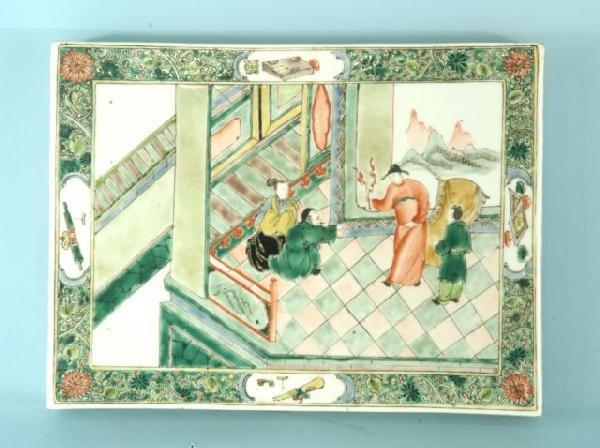 206: CHINESE PORCELAIN ANCESTOR TILE