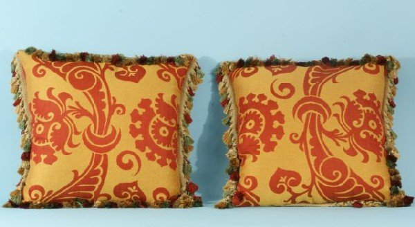 207: PAIR OF FORTUNY STYLE PILLOWS WITH TASSLE FRINGE