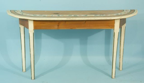 214: PAINTED DEMILUNE CONSOLE TABLE