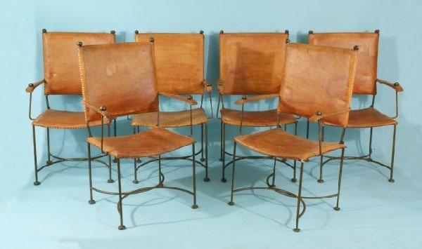 215: SIX IRON ARMCHAIRS WITH LEATHER SEATS & BACKS