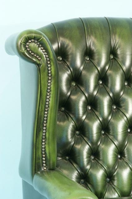 220: BUTTON-TUFTED GREEN LEATHER WING CHAIR - 2