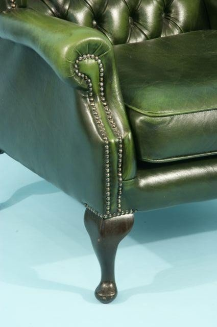 220: BUTTON-TUFTED GREEN LEATHER WING CHAIR - 4