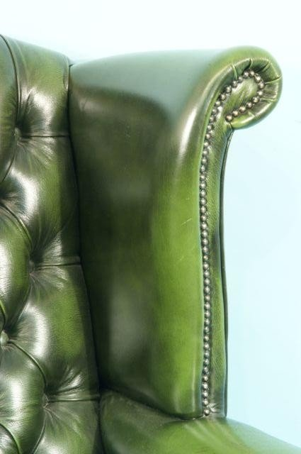 220: BUTTON-TUFTED GREEN LEATHER WING CHAIR - 5