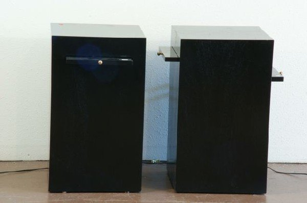 13: PAIR OF EBONIZED SIDE TABLES