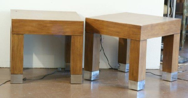 17: PAIR EXOTIC WOOD END TABLES