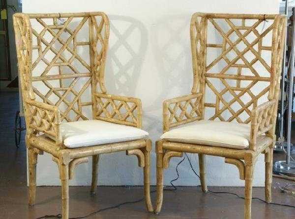 24: PAIR FAUX BAMBOO WING CHAIRS