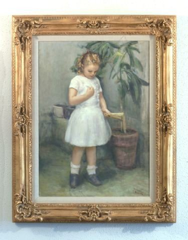 16E: OIL ON CANVAS PORTRAIT OF A GIRL IN WHITE