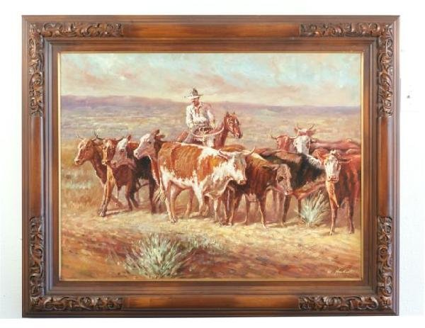 16F: OIL ON CANVAS VACQUERO ON A CATTLE DRIVE