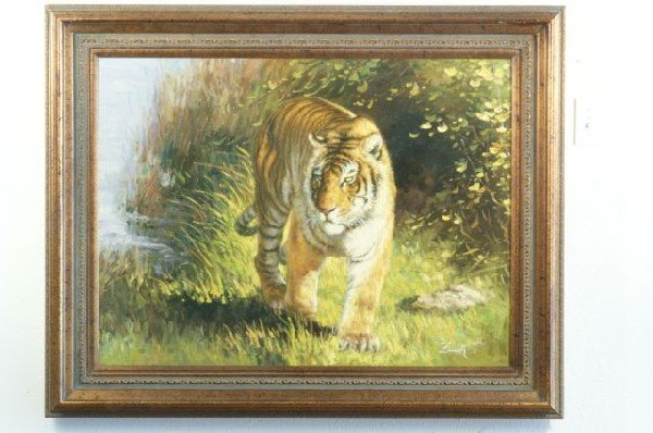 16G: OIL ON CANVAS OF TIGER