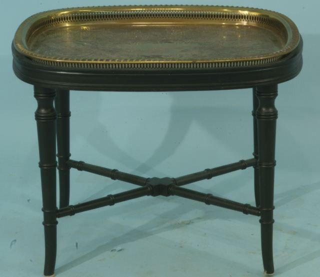 2: EBONIZED TABLE BASE WITH BRASS TOP SERVING TRAY