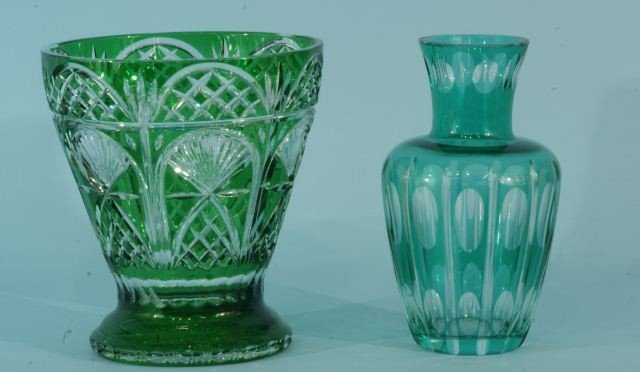 4: TWO GREEN CUT GLASS VASES