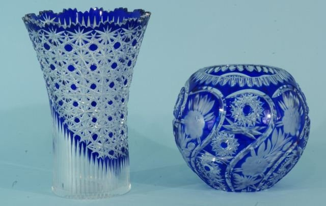 6: CUT TO CLEAR BLUE CRYSTAL VASE AND BOWL