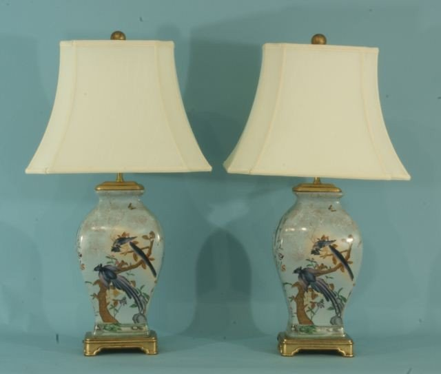 9: PAIR OF PAINTED PORCELAIN VASES CONVERTED TO LAMPS