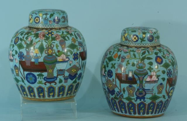10: TWO CLOISONNE JARS WITH LIDS