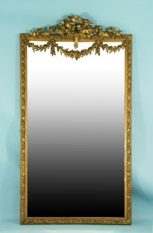 14: FRENCH 19th CENTURY WOOD BEVELED MIRROR