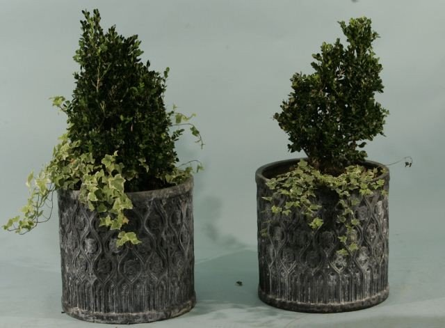 15: PAIR OF ROUND LEAD PLANTERS